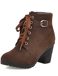 cheap -Women's Boots Chunky Heel Round Toe PU Booties / Ankle Boots Casual / British Fall & Winter Black / Brown / Burgundy