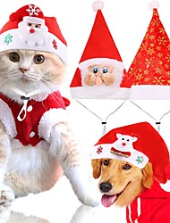 cheap -Dog Cat Hats, Caps & Bandanas Bandanas & Hats Winter Dog Clothes Fuchsia Red Costume Husky Labrador Golden Retriever Polyester Character Christmas Casual / Daily Simple Style M