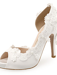 cheap -Women's Wedding Shoes Stiletto Heel Peep Toe Imitation Pearl / Satin Flower Satin Sweet / Minimalism Spring & Summer White / Party & Evening