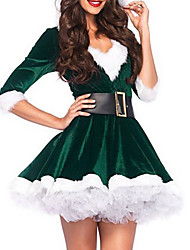 cheap -Women's Red Green Dress Elegant Christmas Party A Line Color Block Print M L