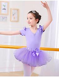 cheap -Kids' Dancewear / Ballet Outfits Girls' Training / Performance Spandex / Mesh Cascading Ruffles Short Sleeve Skirts / Leotard / Onesie