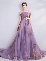 cheap -A-Line Off Shoulder Chapel Train Tulle Floral / Purple Prom / Formal Evening Dress with Beading / Sequin / Appliques 2020
