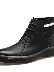 cheap -Men's Leather Shoes Leather / Nappa Leather Spring & Summer / Fall & Winter Business / Casual Boots Breathable Booties / Ankle Boots Black / Khaki