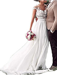 cheap -A-Line V Neck Sweep / Brush Train Chiffon / Lace Cap Sleeve Wedding Dresses with Lace Insert 2020