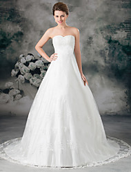 cheap -A-Line Sweetheart Neckline Court Train Lace / Satin Strapless Wedding Dresses with Sashes / Ribbons / Bow(s) / Lace Insert 2020