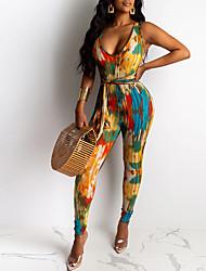 cheap -Women's Street chic Rainbow Jumpsuit Onesie, Geometric S M L