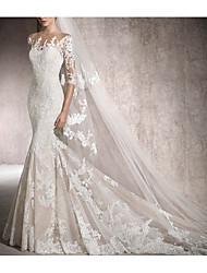 cheap -Mermaid / Trumpet Jewel Neck Chapel Train Lace Half Sleeve Illusion Sleeve Wedding Dresses with Beading / Lace Insert 2020