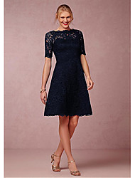 cheap -A-Line Scalloped Neckline Knee Length Lace Short Sleeve Plus Size Mother of the Bride Dress with Lace 2020