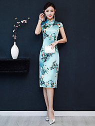 cheap -Adults' Women's Chinese Style Chinese Style Cheongsam Qipao For Party Daily Polyster Halloween Carnival Masquerade Cheongsam