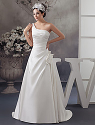 cheap -A-Line One Shoulder Sweep / Brush Train Satin Spaghetti Strap Wedding Dresses with Ruched / Beading / Side-Draped 2020