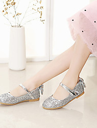 cheap -Girls' Flower Girl Shoes Synthetics Flats Little Kids(4-7ys) / Big Kids(7years +) Bowknot / Sequin / Buckle Gold / Silver Spring / Fall