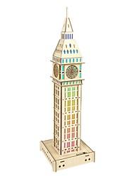 Недорогие -3D пазлы Деревянные пазлы Башня с часами моделирование Ручная работа деревянный 63 pcs Детские Взрослые Все Игрушки Подарок