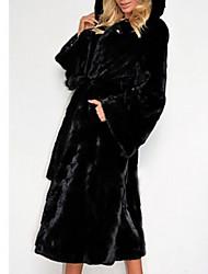 Недорогие -Жен. Повседневные Наступила зима Обычная Искусственное меховое пальто, Однотонный Капюшон Длинный рукав Искусственный мех Черный