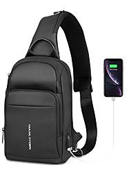 cheap -Men's Zipper Oxford Cloth Sling Shoulder Bag Solid Color Black