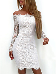 cheap -Women's White Dress Elegant Sexy Cocktail Party Going out Birthday Bodycon Paisley Solid Colored Off Shoulder Lace S M Slim / Belt Not Included