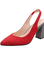 cheap -Women's Heels Chunky Heel Pointed Toe Suede Casual Spring & Summer Black / Red / Pink