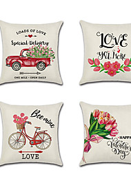 cheap -1pcs Valentine'S Day Cushion Cover Red Dump Truck Bike Flower Digital Printing