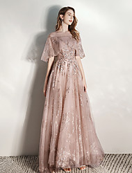 cheap -A-Line Boat Neck Floor Length Tulle Dress with Beading / Sequin by LAN TING Express