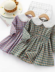 cheap -Kids Girls' Basic Striped Long Sleeve Knee-length Dress Blue
