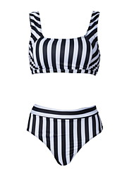 cheap -Women's Basic White Bandeau Cheeky High Waist Bikini Swimwear - Color Block Racerback Print XL XXL XXXL White
