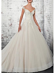 cheap -A-Line Off Shoulder Court Train Lace / Tulle Cap Sleeve Wedding Dresses with Lace Insert 2020