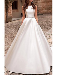 cheap -A-Line Jewel Neck Court Train Satin Regular Straps Wedding Dresses with Beading / Lace Insert 2020