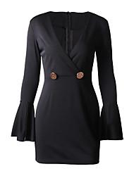 cheap -Women's Sheath Dress - Short Sleeve Solid Colored Deep V Slim Orange S M L XL