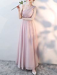 cheap -A-Line One Shoulder Floor Length Polyester Bridesmaid Dress with Lace / Ruching / Open Back