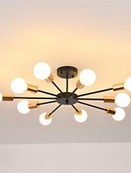 cheap -10-Light 10-Head Nordic Style Metal Semi Flush Mount Ceiling Light Modern Living Room Bedroom Dining Room lighting Painted Finish