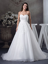 cheap -A-Line Wedding Dresses Sweetheart Neckline Court Train Lace Tulle Strapless with Beading Appliques 2020
