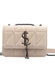 cheap -Women's Zipper / Chain PU Leather Crossbody Bag Leather Bag Lattice White / Black / Red / Fall & Winter