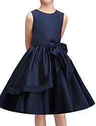 cheap -Princess Knee Length Pageant Flower Girl Dresses - Polyester Sleeveless Jewel Neck with Bow(s)