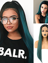 cheap -Synthetic Lace Front Wig Silky Straight Middle Part Lace Front Wig Long Ombre Green Synthetic Hair 18-24 inch Women's Adjustable Heat Resistant Synthetic Green Ombre / Natural Hairline