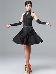 cheap -Women's Flapper Girl Latin Dance Flapper Dress Party Costume Tassel Flapper Costume Polyester Black Yellow Dress