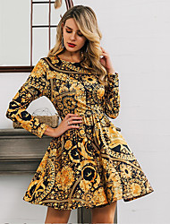 cheap -Women's Gold Dress Vintage Style Sophisticated Daily Going out A Line Print Pleated Print S M / Belt Not Included