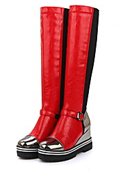 cheap -Women's Boots Wedge Heel Round Toe PU Knee High Boots Fall & Winter Red / Gold / Black / Color Block