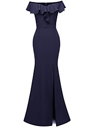 cheap -Mermaid / Trumpet Off Shoulder Maxi Polyester Bridesmaid Dress with Ruffles
