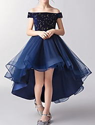 cheap -A-Line Asymmetrical Pageant Flower Girl Dresses - Tulle Short Sleeve Off Shoulder with Pattern / Print