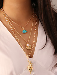 cheap -Women's Pendant Necklace Necklace Layered Necklace Layered Lucky Simple Classic Trendy Fashion Imitation Pearl Resin Chrome Light Green Blue Pink 60 cm Necklace Jewelry 1pc For Gift Daily School