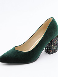 cheap -Women's Heels Chunky Heel Pointed Toe PU Classic / British Spring &  Fall Black / Green / Burgundy / Party & Evening