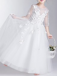cheap -Ball Gown Floor Length First Communion Flower Girl Dresses - Polyester Half Sleeve Jewel Neck with Appliques