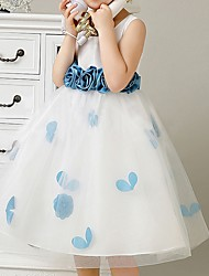 cheap -A-Line Knee Length Pageant Flower Girl Dresses - Polyester Sleeveless Scoop Neck with Bow(s) / Pattern / Print / Appliques