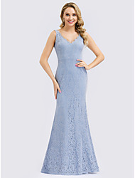 cheap -Mermaid / Trumpet V Neck Floor Length Lace Bridesmaid Dress with Lace