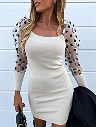 cheap -Women's Event / Party Daily Street chic Elegant Sheath Dress - Polka Dot Solid Colored Mesh Patchwork White Camel Gray S M L XL