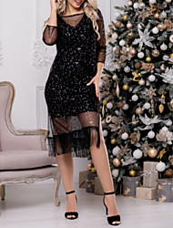 cheap -A-Line Elegant Holiday Cocktail Party Dress Jewel Neck 3/4 Length Sleeve Tea Length Tulle with Tassel Appliques 2020