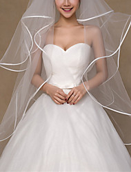 cheap -Three-tier Classic Style / Lace Wedding Veil Fingertip Veils with Solid 59.06 in (150cm) POLY / Lace
