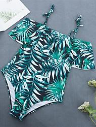 cheap -Women's Basic White Blue Green Bandeau Cheeky High Waist Bikini Swimwear - Floral Geometric Lace up Print S M L White
