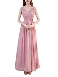 cheap -A-Line V Neck Ankle Length Chiffon Bridesmaid Dress with Sash / Ribbon / Pleats / Open Back