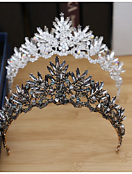 cheap -Tiaras Wreaths Crown Masquerade Retro Vintage Gothic Alloy For Black Swan Cosplay Halloween Carnival Women's Ladies Girls' Costume Jewelry Fashion Jewelry / Crystal / White / Mini / C Shape