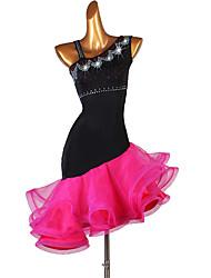 cheap -Latin Dance Dresses Women's Training Spandex Cascading Ruffles / Split Joint Sleeveless High Dress